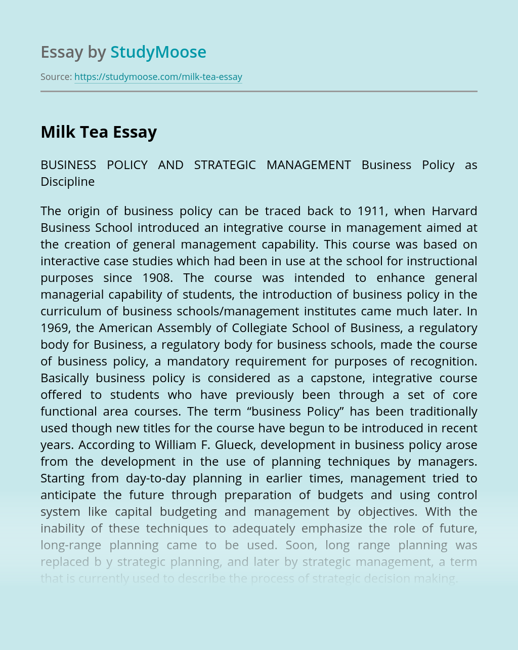 Business Policy as Discipline