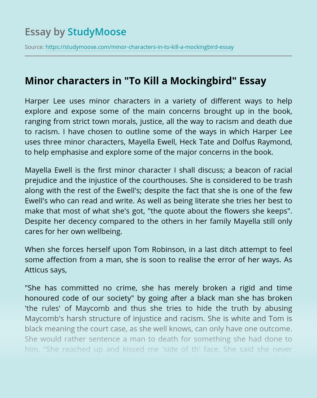 Minor characters in