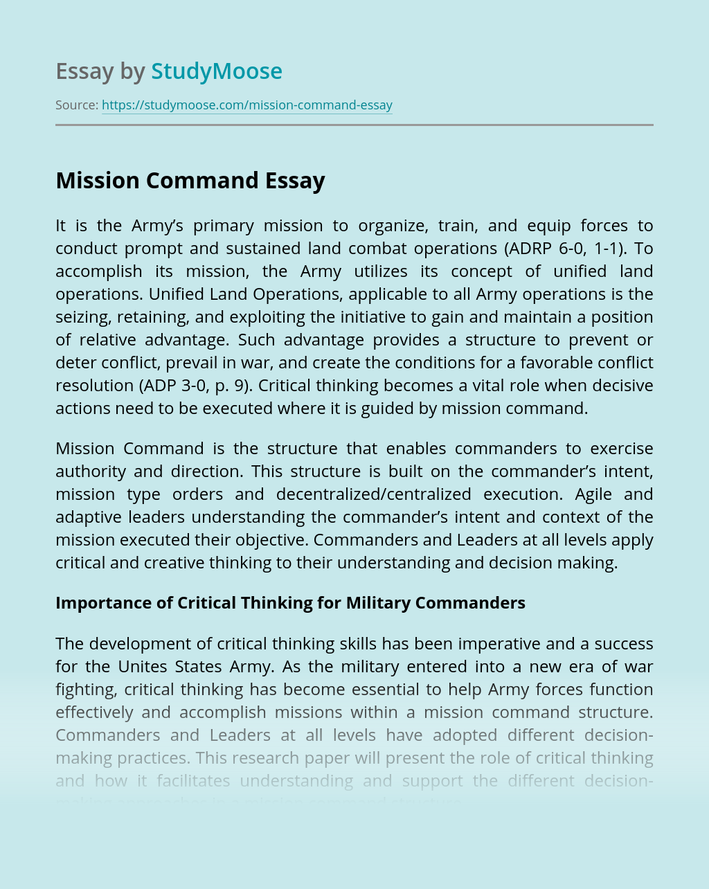 The Army's Mission