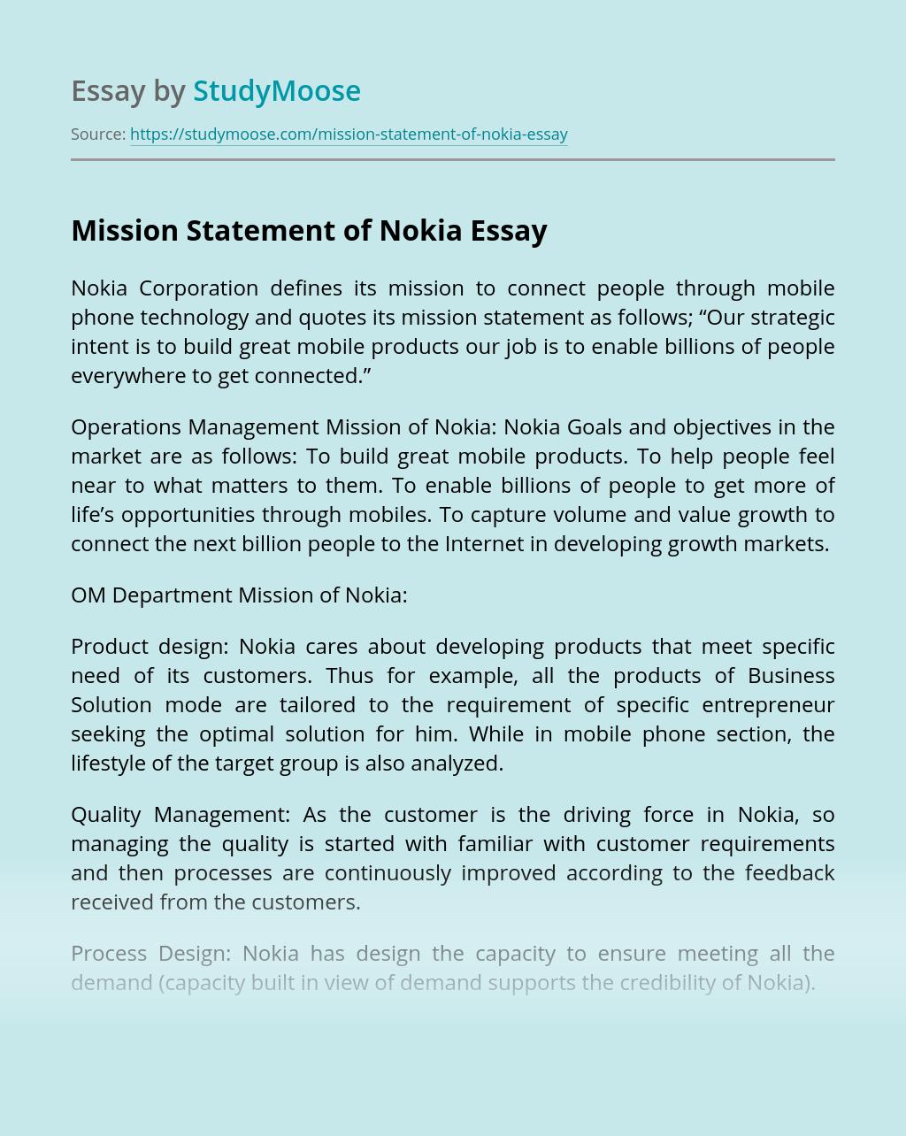 Mission Statement of Nokia