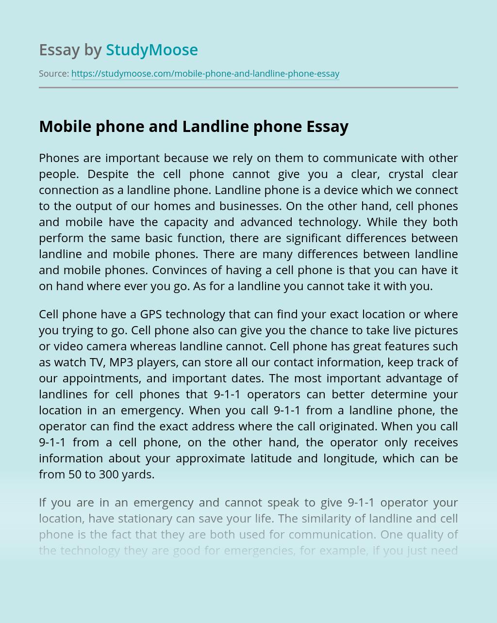 Mobile phone and Landline phone