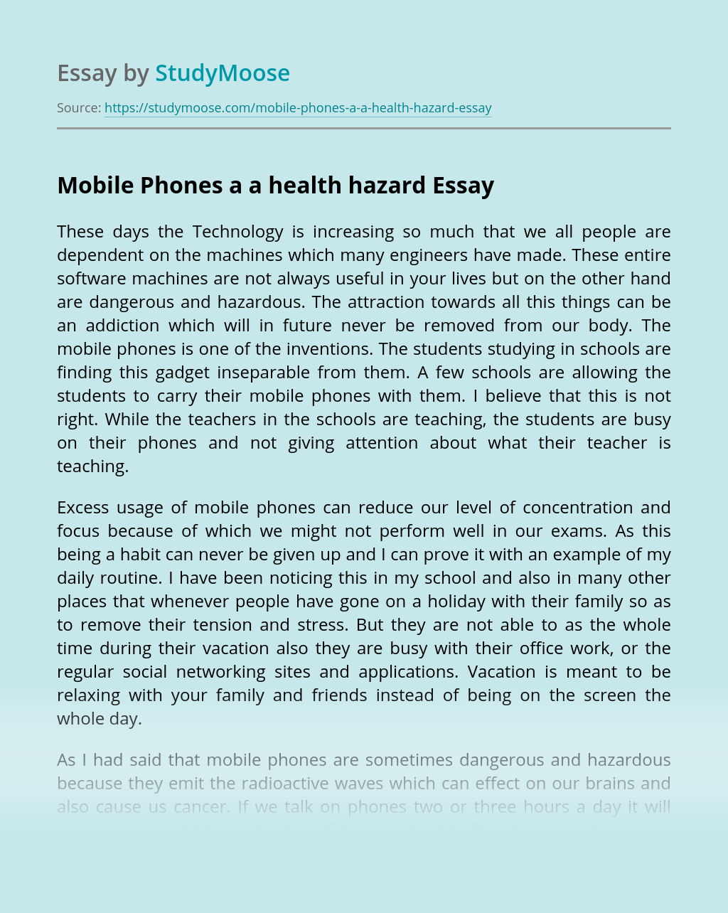 Mobile Phones a a health hazard