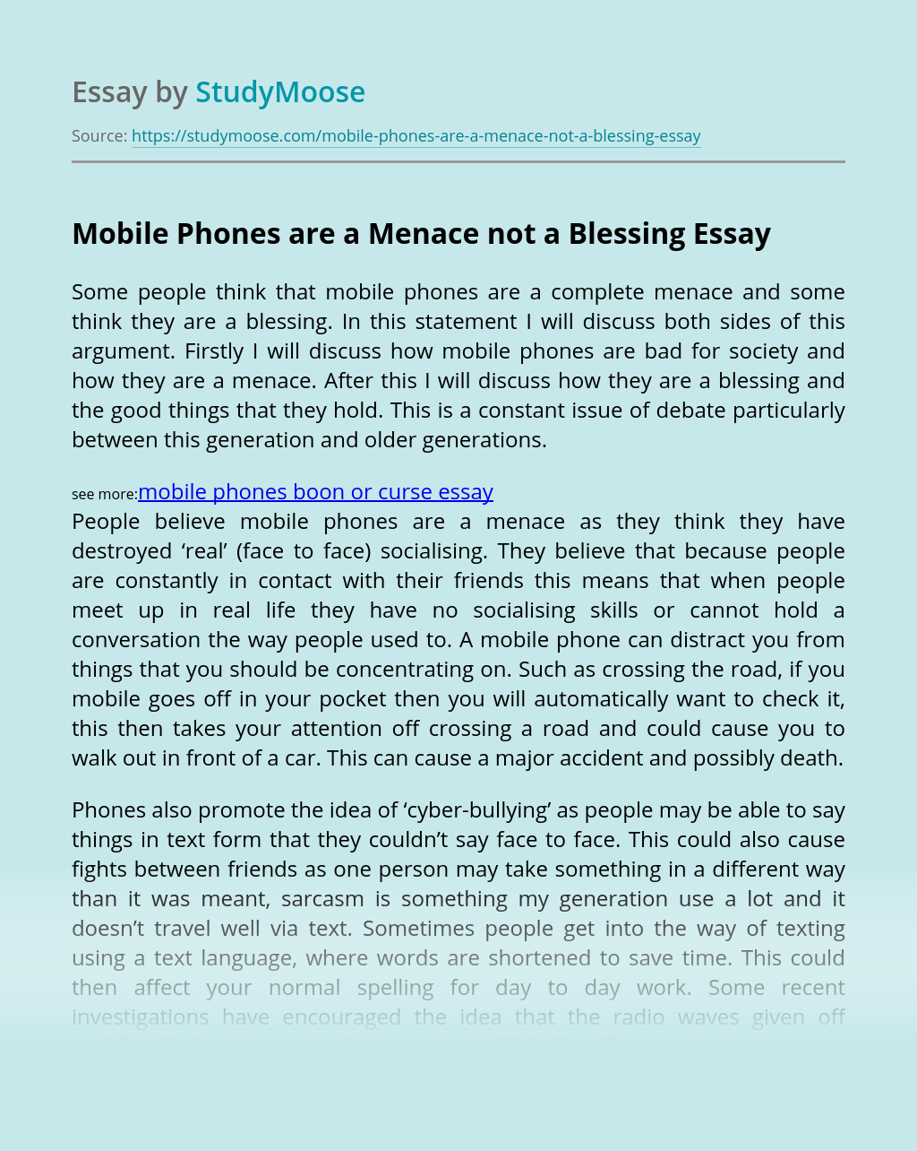 Mobile Phones are a Menace not a Blessing