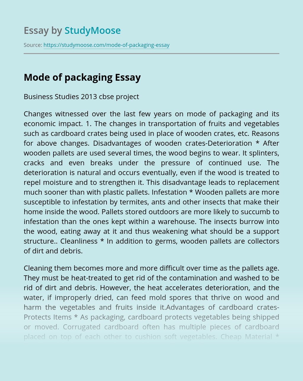 Mode of packaging