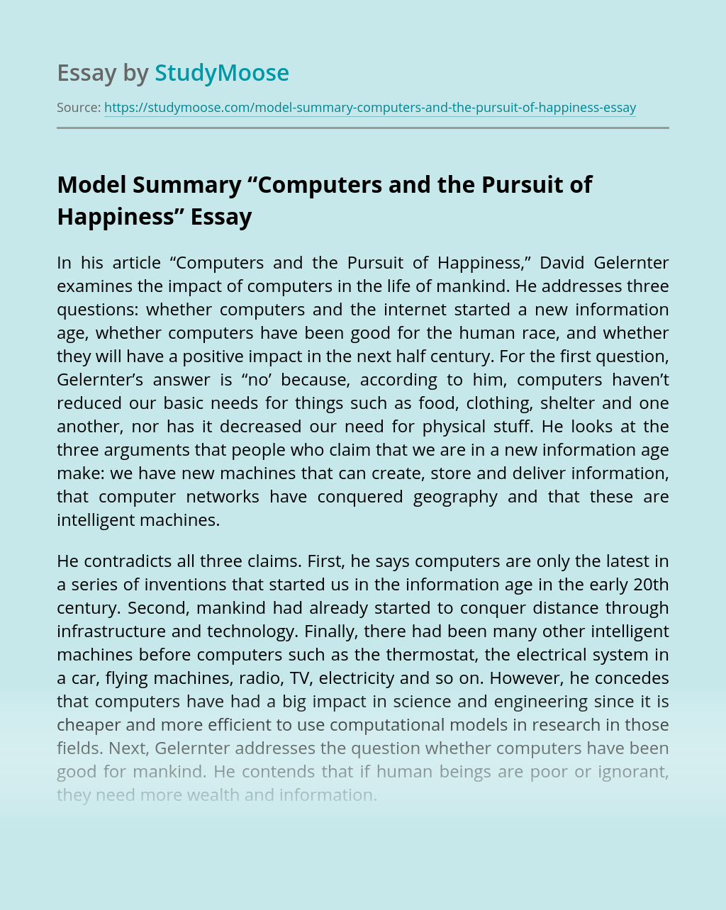 """Model Summary """"Computers and the Pursuit of Happiness"""""""