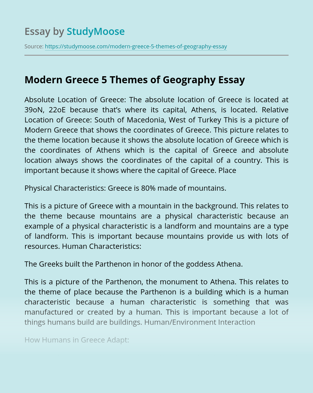 Modern Greece 5 Themes of Geography