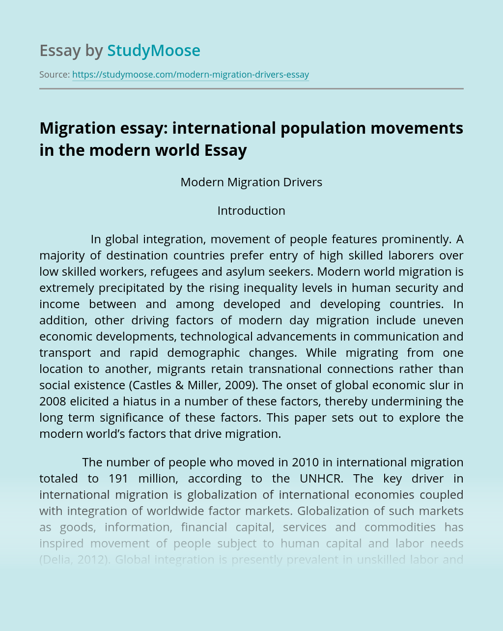 Migration essay: international population movements in the modern world
