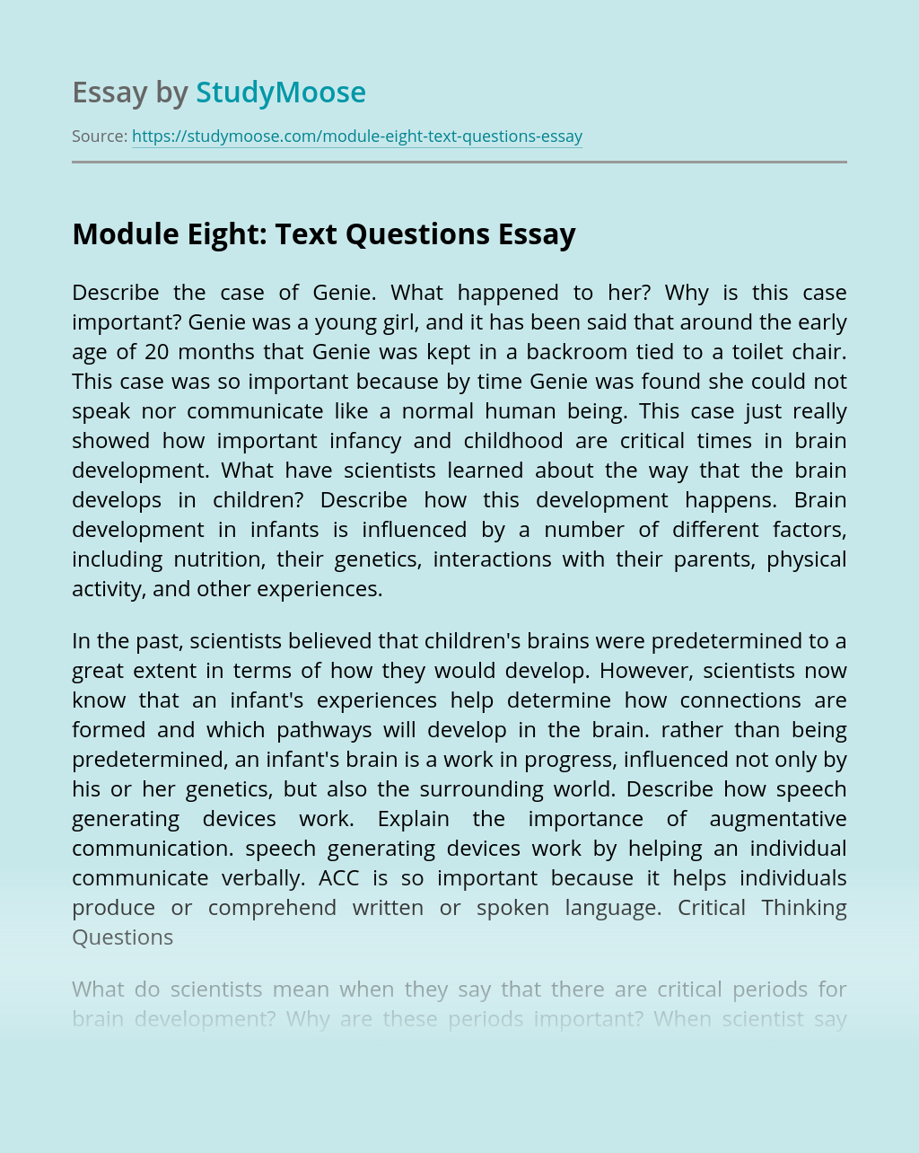 Module Eight: Text Questions