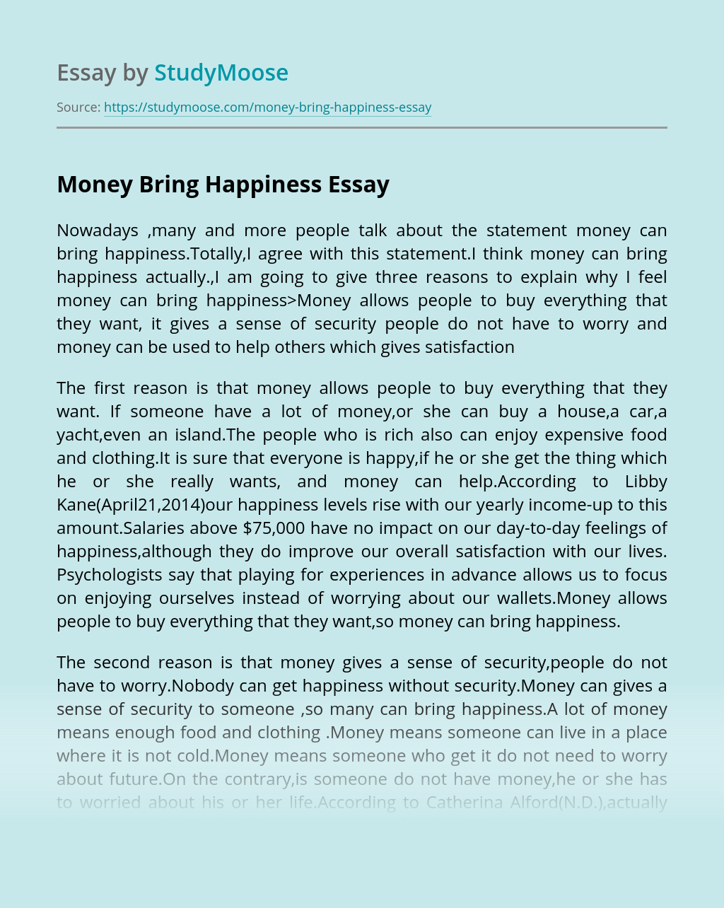 Money Bring Happiness