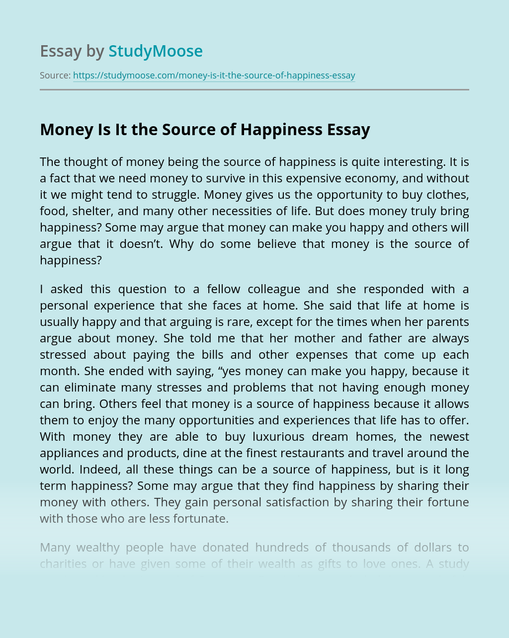 Money Is It the Source of Happiness