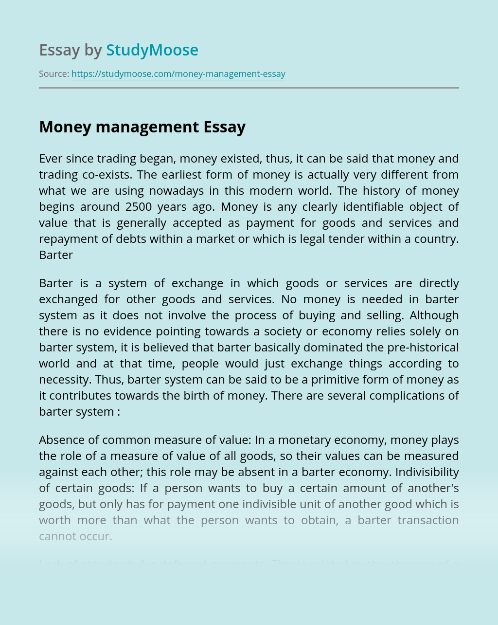 money management essays