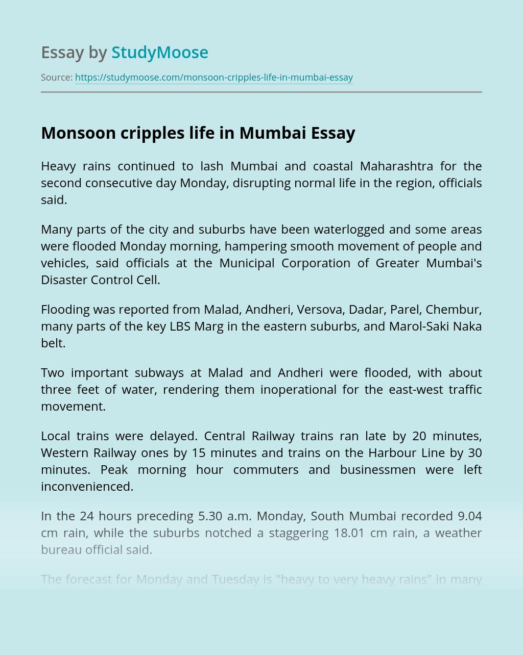 Monsoon cripples life in Mumbai