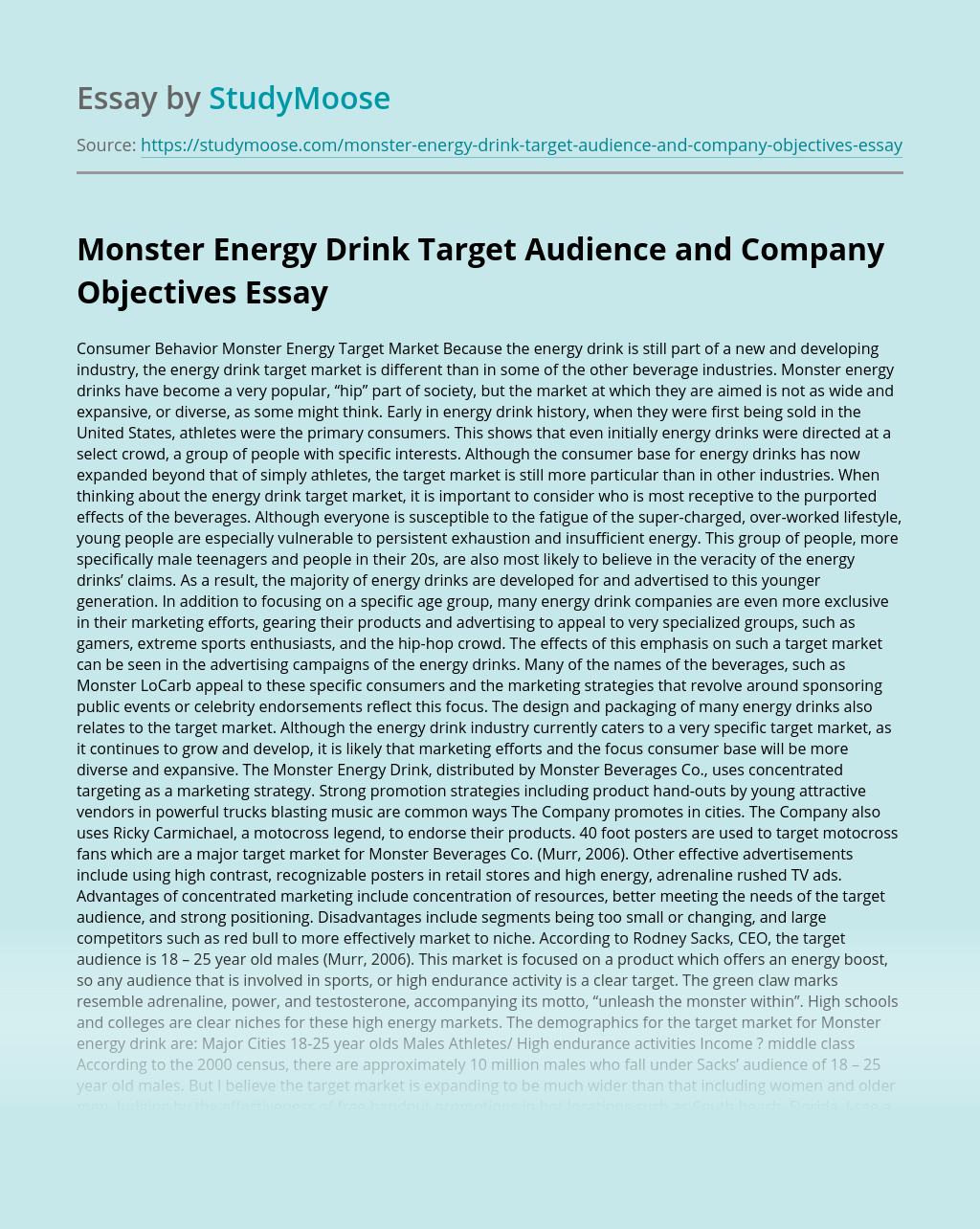 Monster Energy Drink Target Audience and Company Objectives