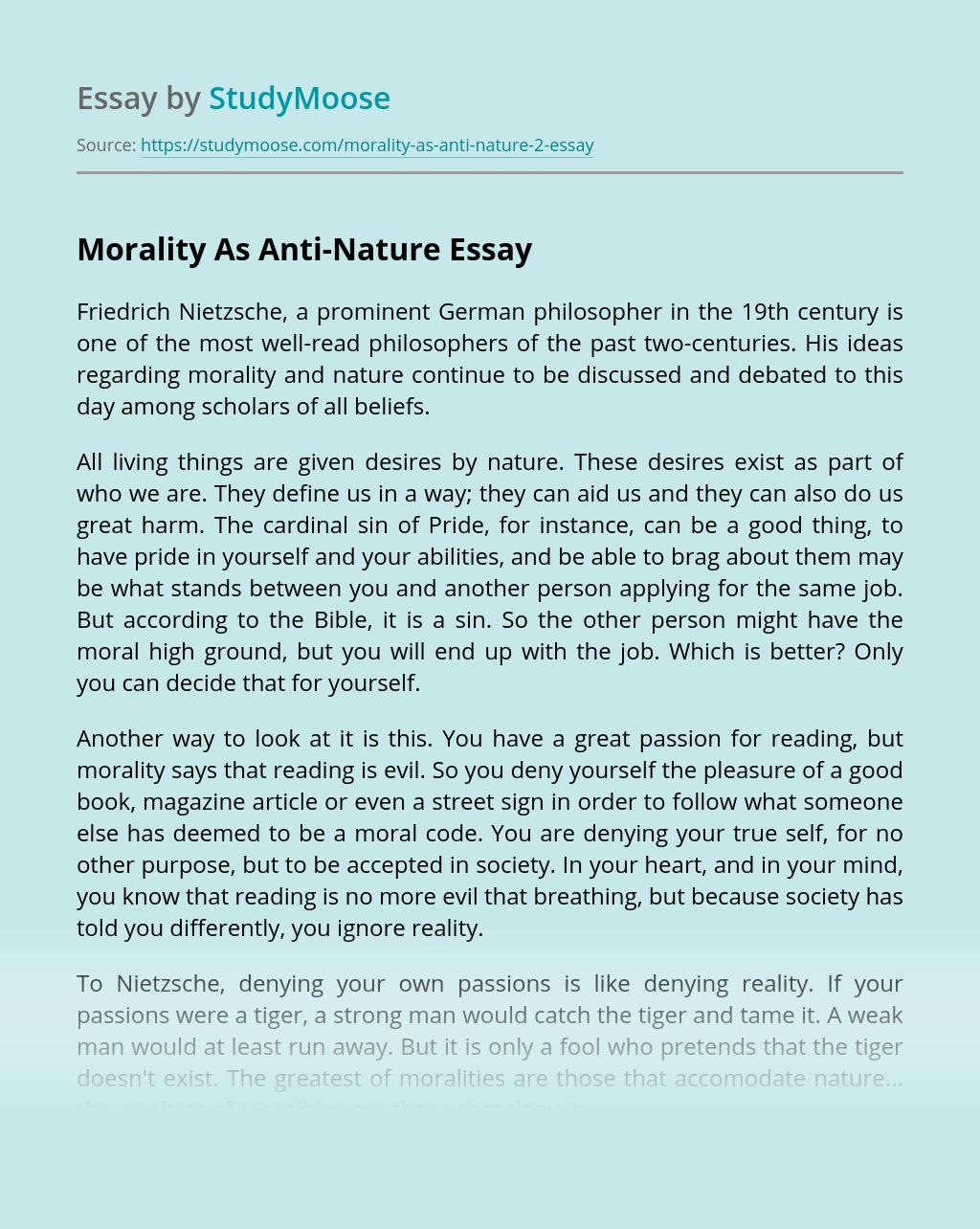 Morality As Anti-Nature