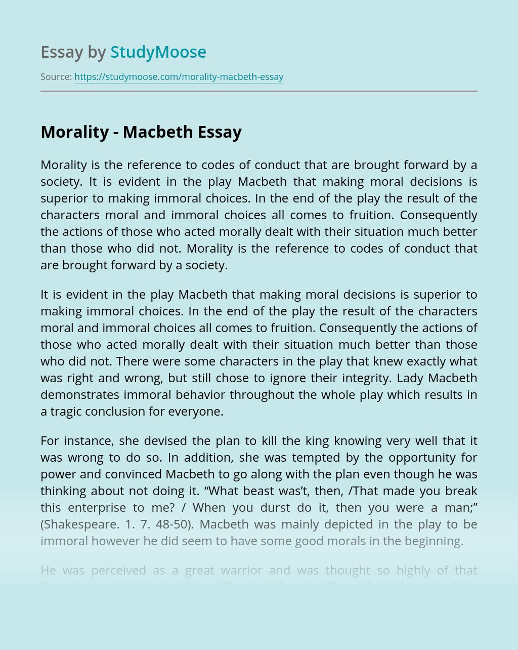 Morality - Macbeth