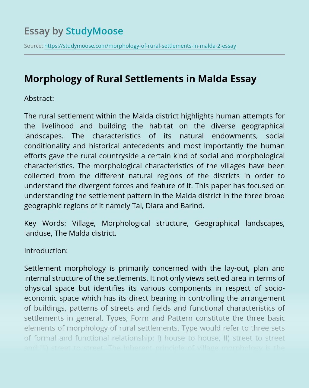 Morphology of Rural Settlements in Malda