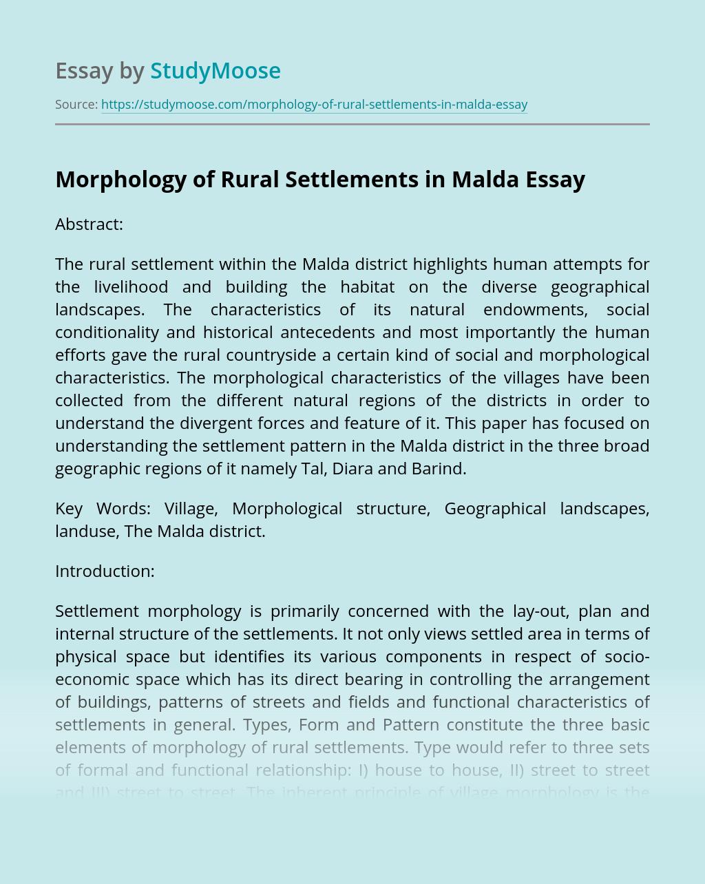 Morphology of Rural Settlements in Malda