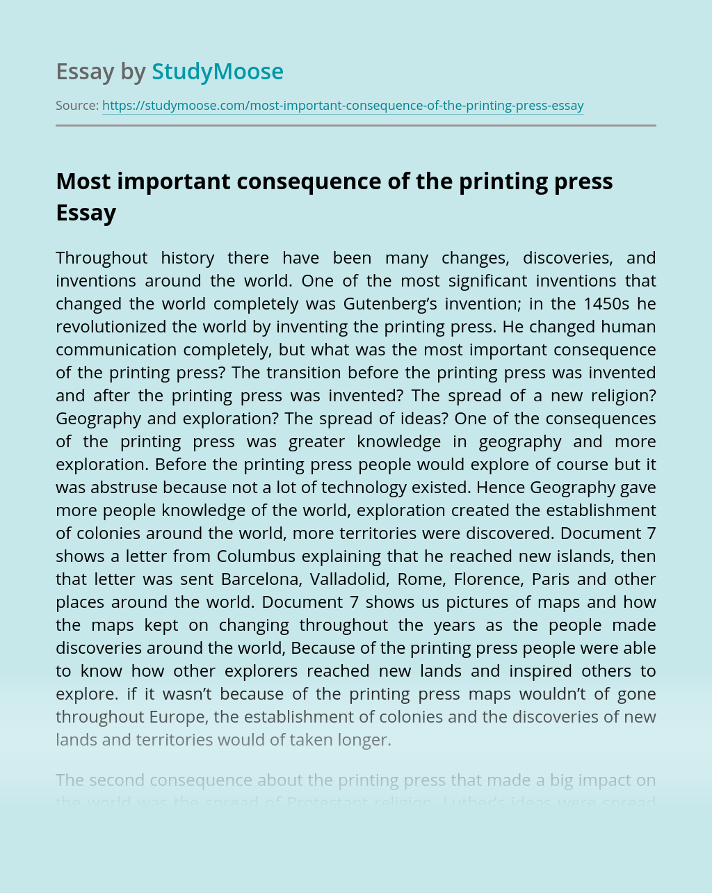 Most important consequence of the printing press
