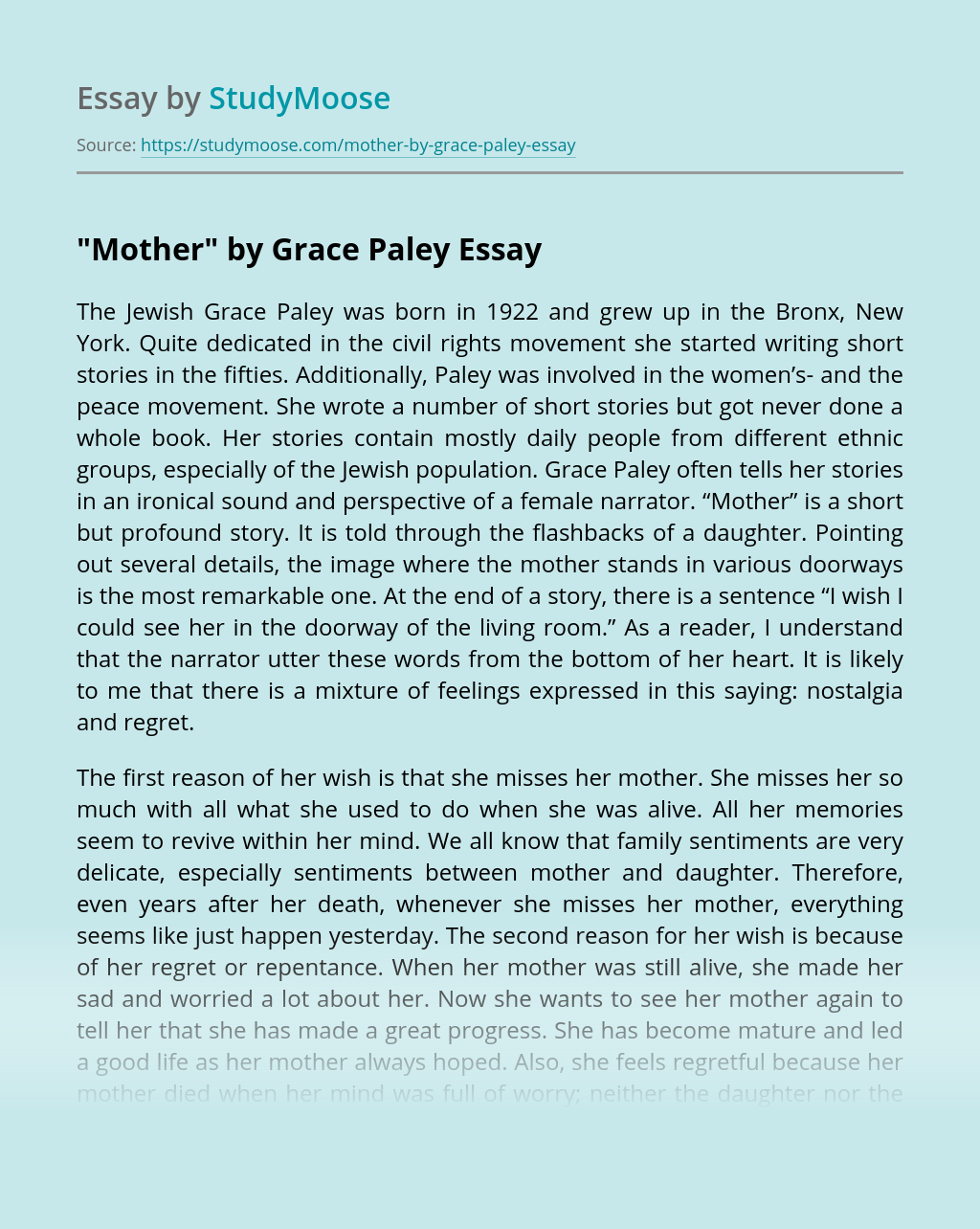 """Mother"" by Grace Paley"