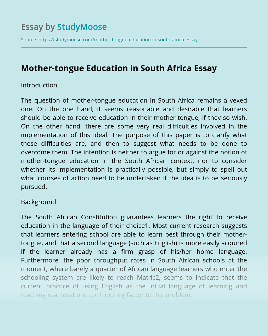 Mother-tongue Education in South Africa