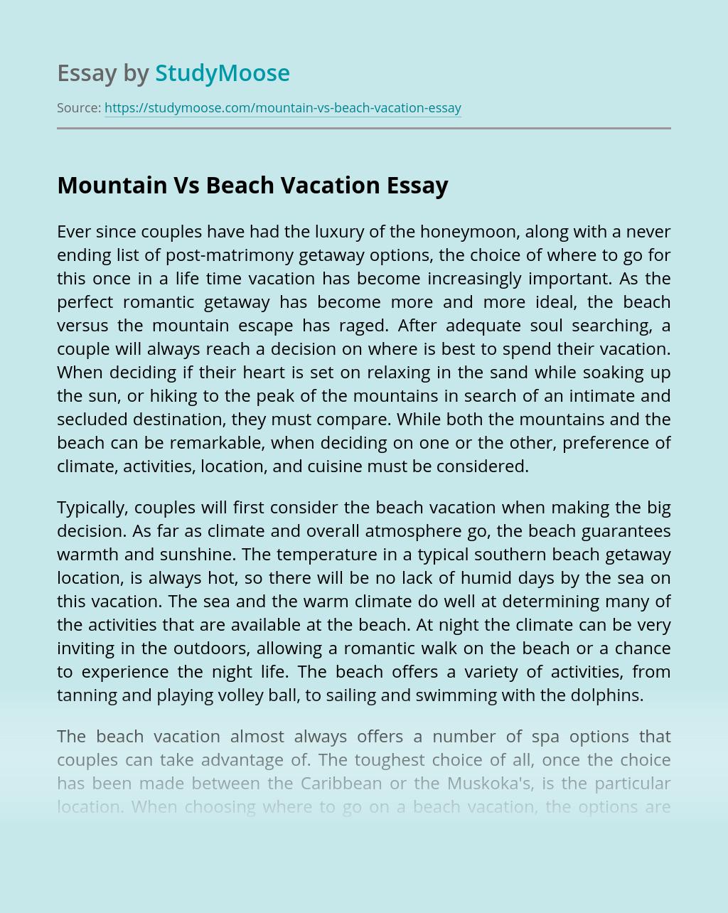 Mountain Vs Beach Vacation