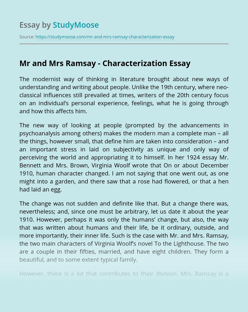 Mr and Mrs Ramsay - Characterization