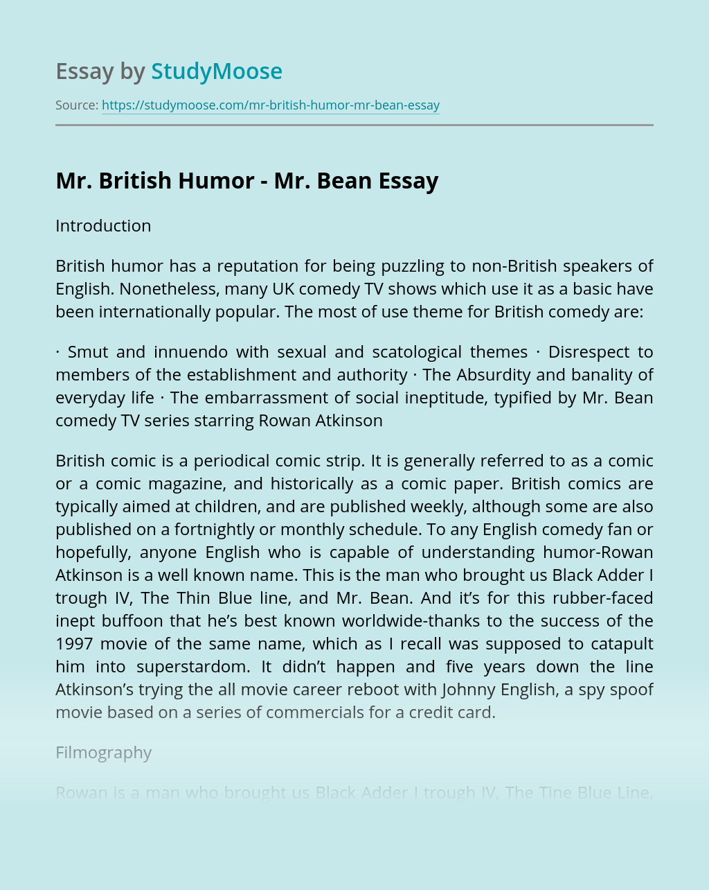 Mr. British Humor - Mr. Bean