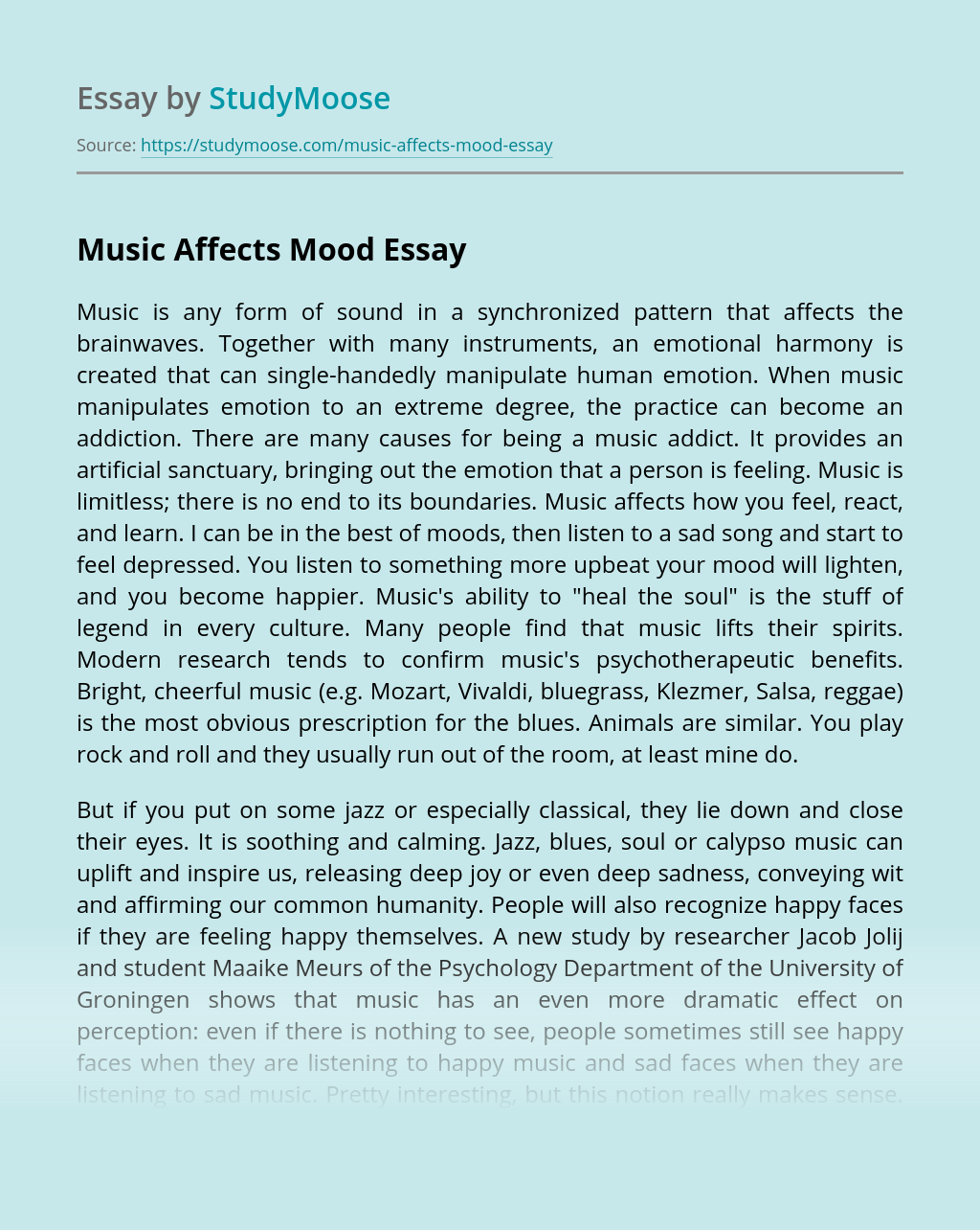 Music Affects Mood