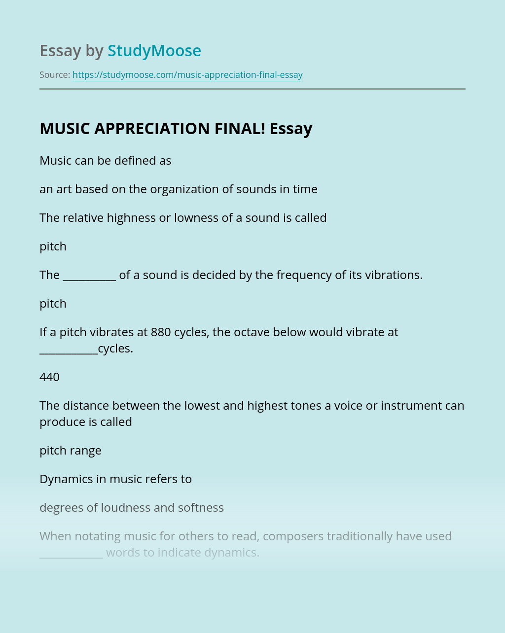 MUSIC APPRECIATION FINAL!
