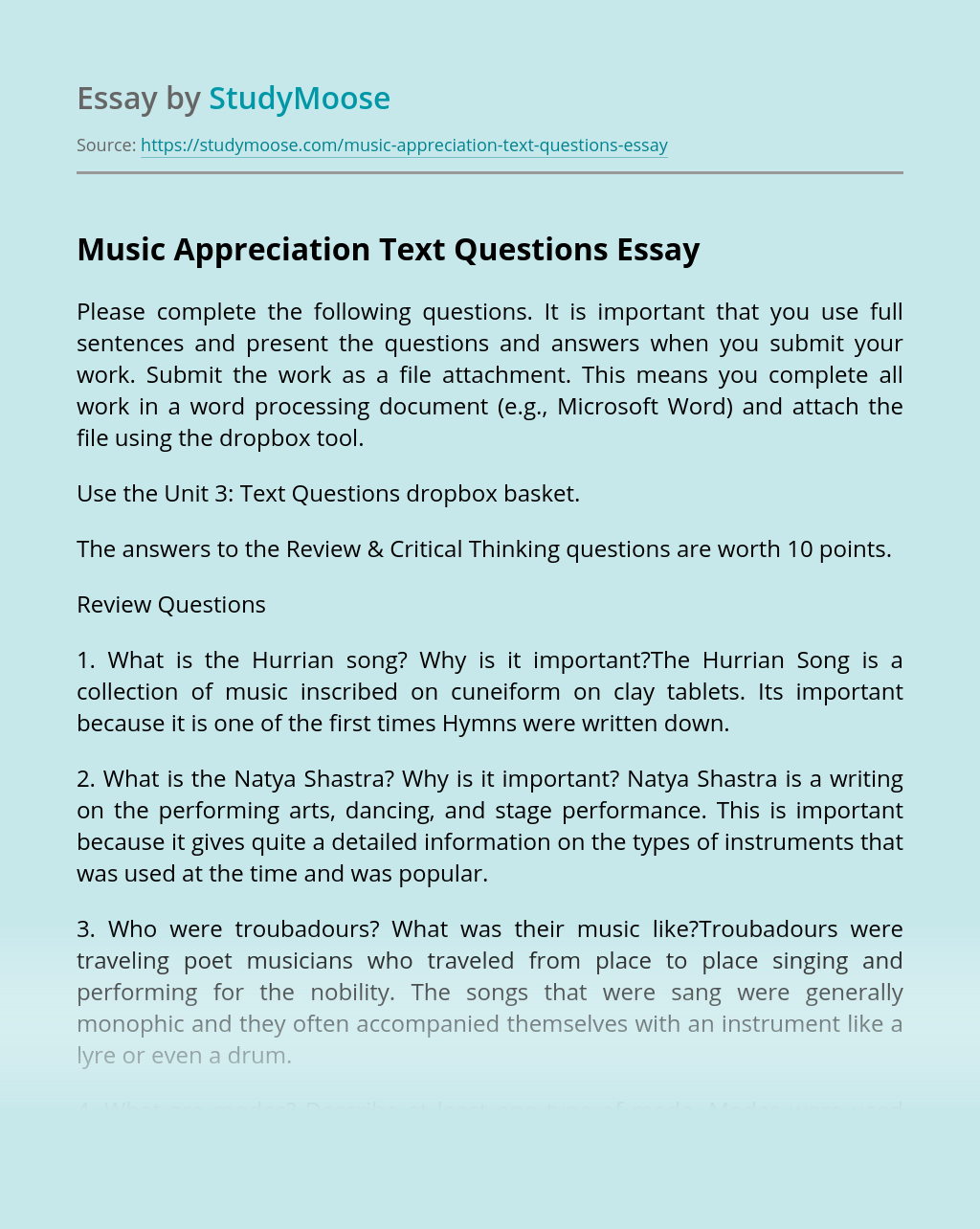 Music Appreciation Text Questions