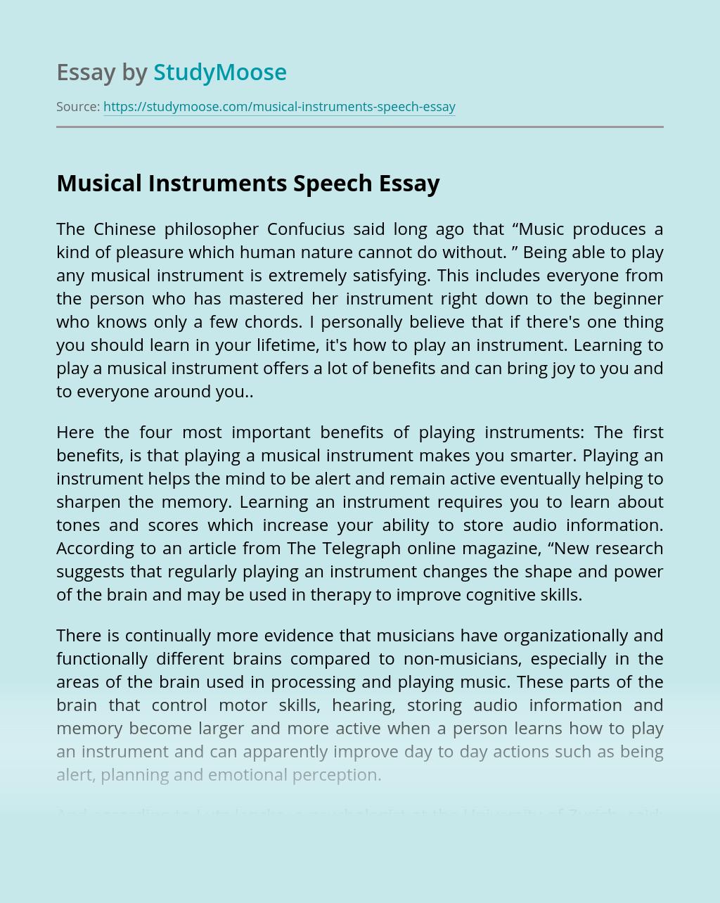Musical Instruments Speech