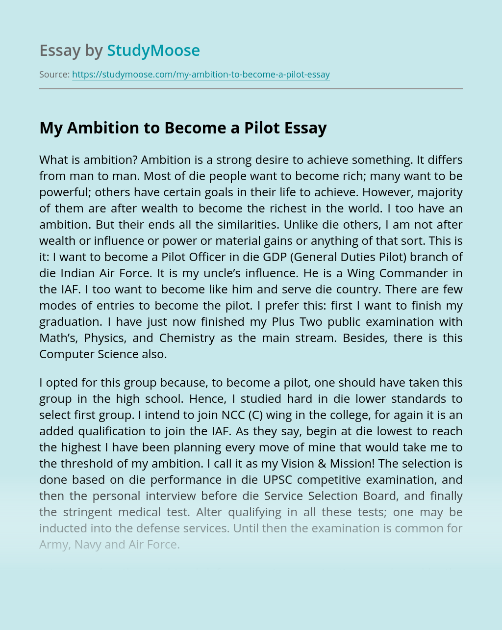 My Ambition to Become a Pilot