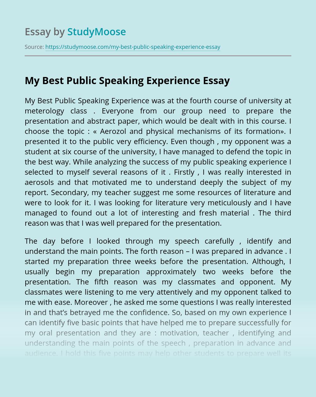 My Best Public Speaking Experience