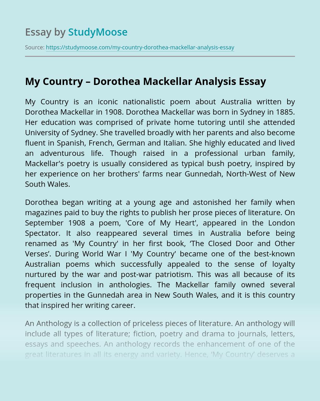 My Country – Dorothea Mackellar Analysis