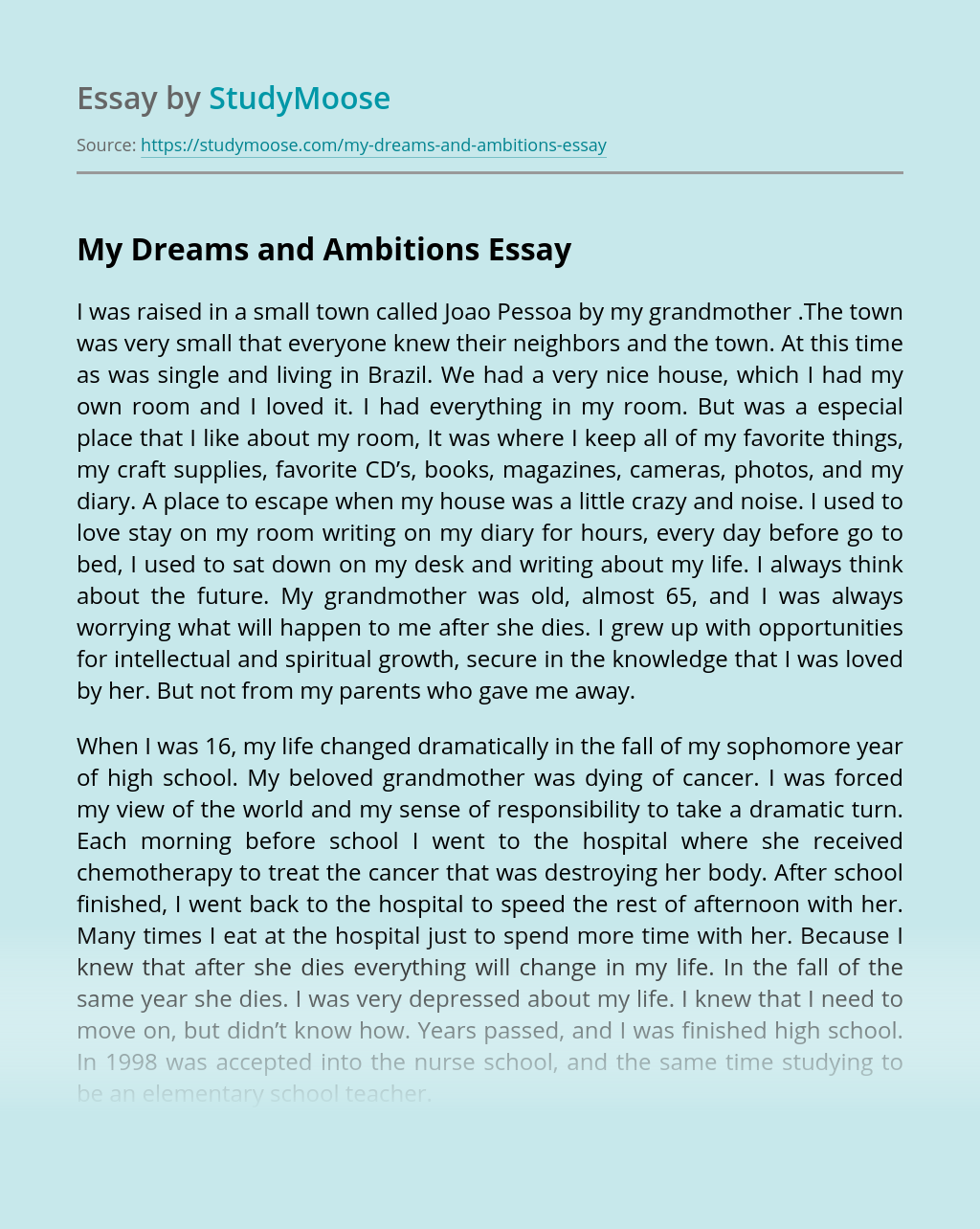 My Dreams and Ambitions