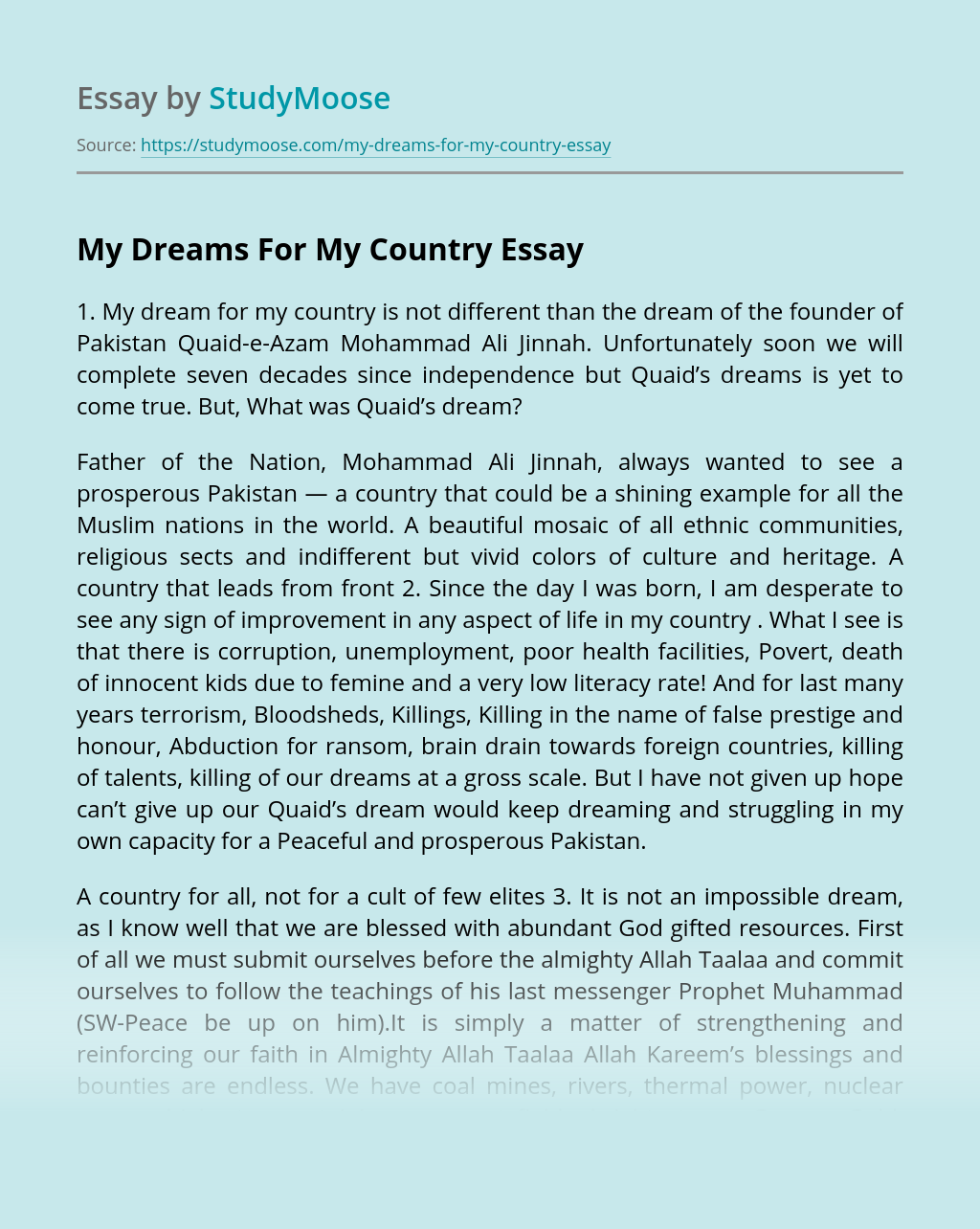 My Dreams For My Country