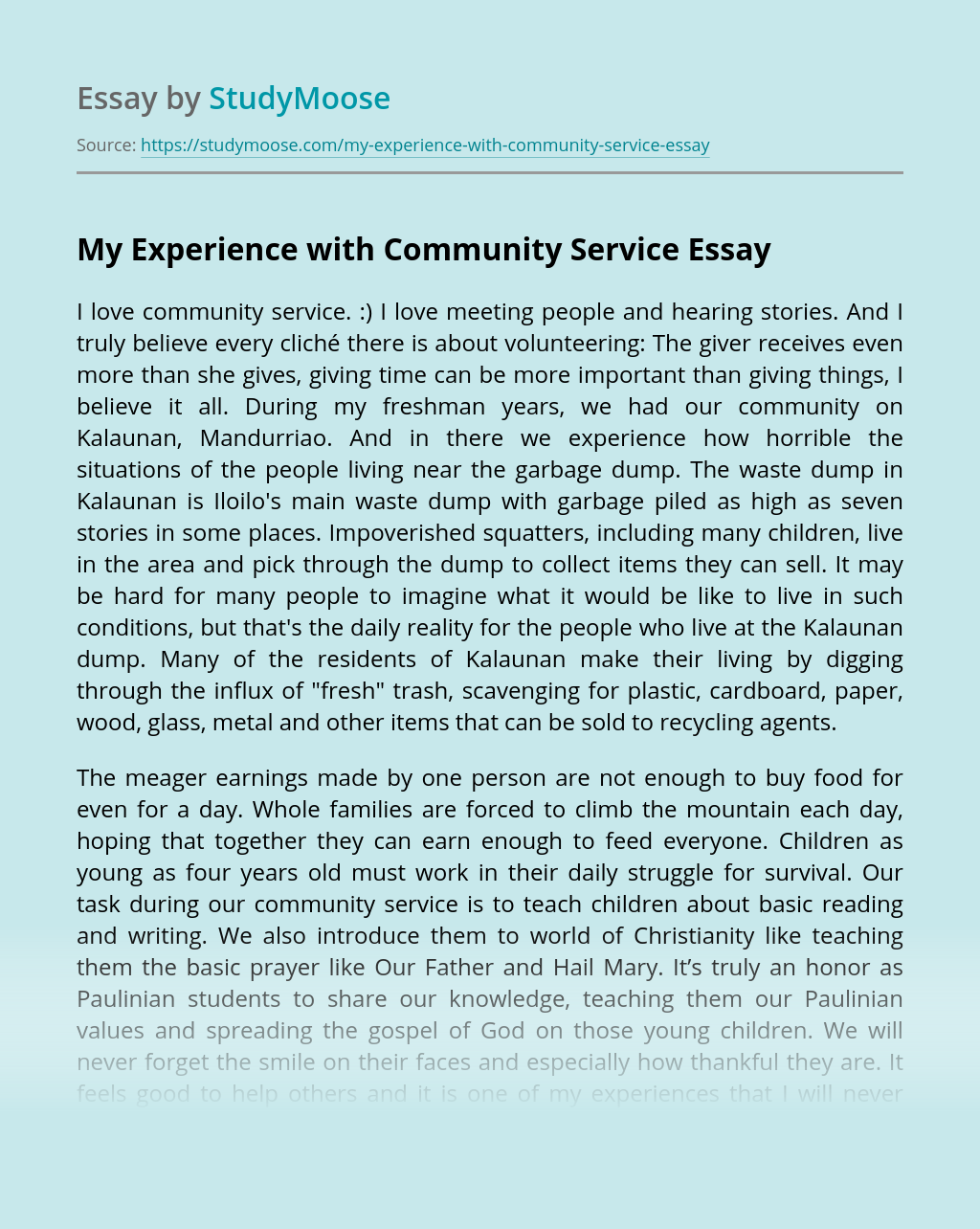 My Experience with Community Service