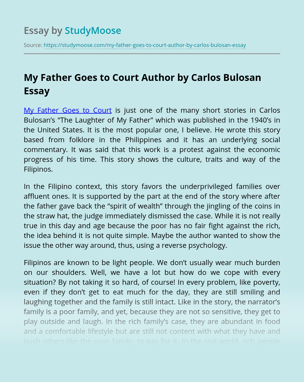 My Father Goes to Court Author by Carlos Bulosan