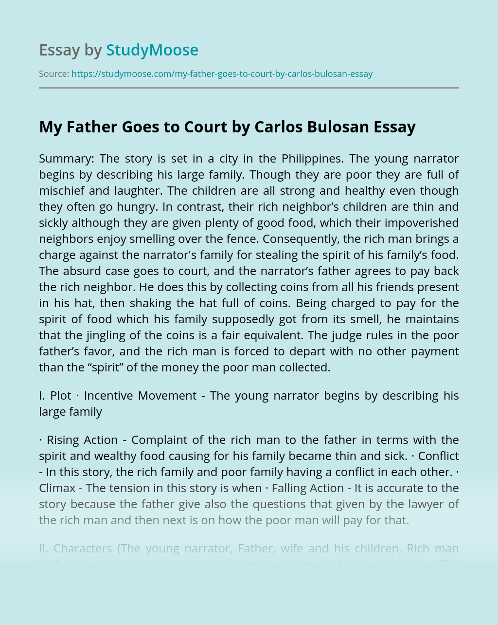 My Father Goes to Court by Carlos Bulosan