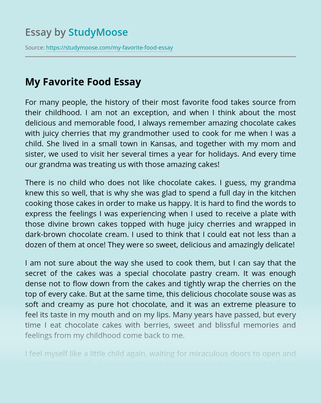 Essay my favorite food