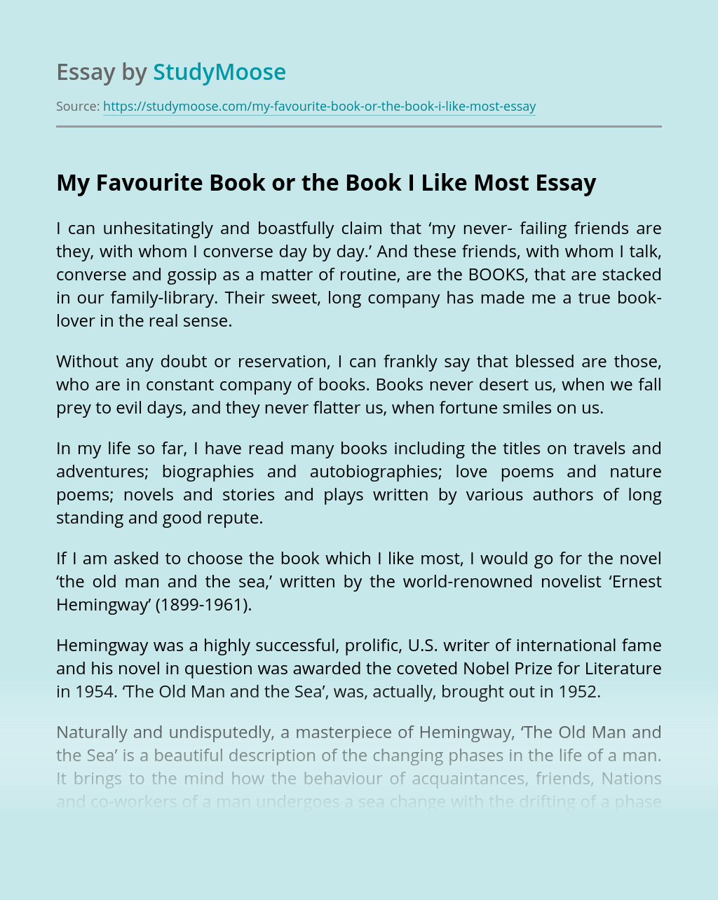 The Book I Like Most Essay Example