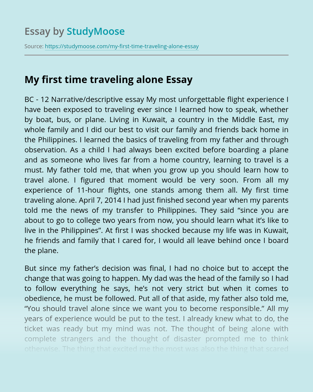 My first time traveling alone