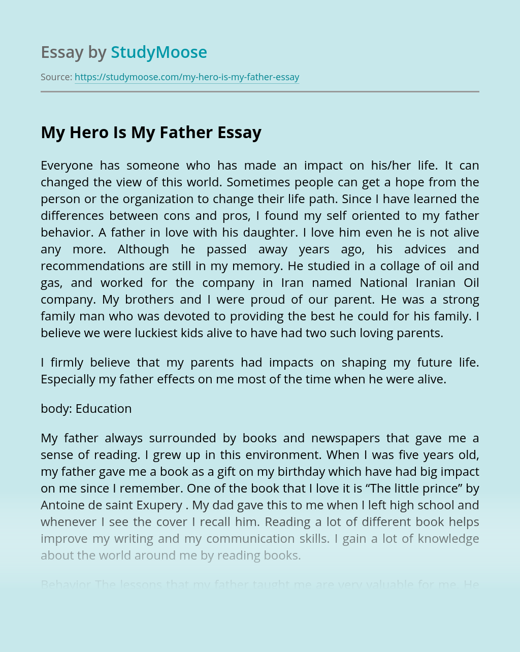 My Hero Is My Father