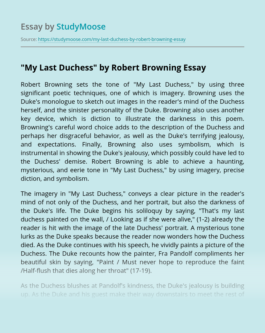 """My Last Duchess"" by Robert Browning"