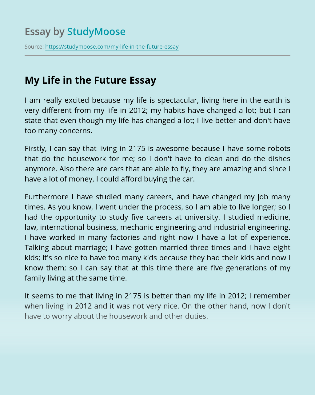 Essay about my future life