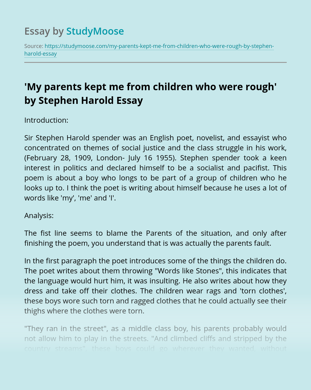 'My parents kept me from children who were rough' by Stephen Harold