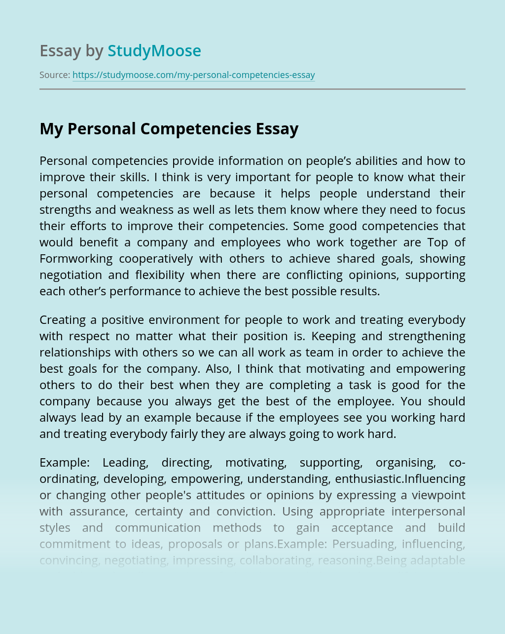 My Personal Competencies
