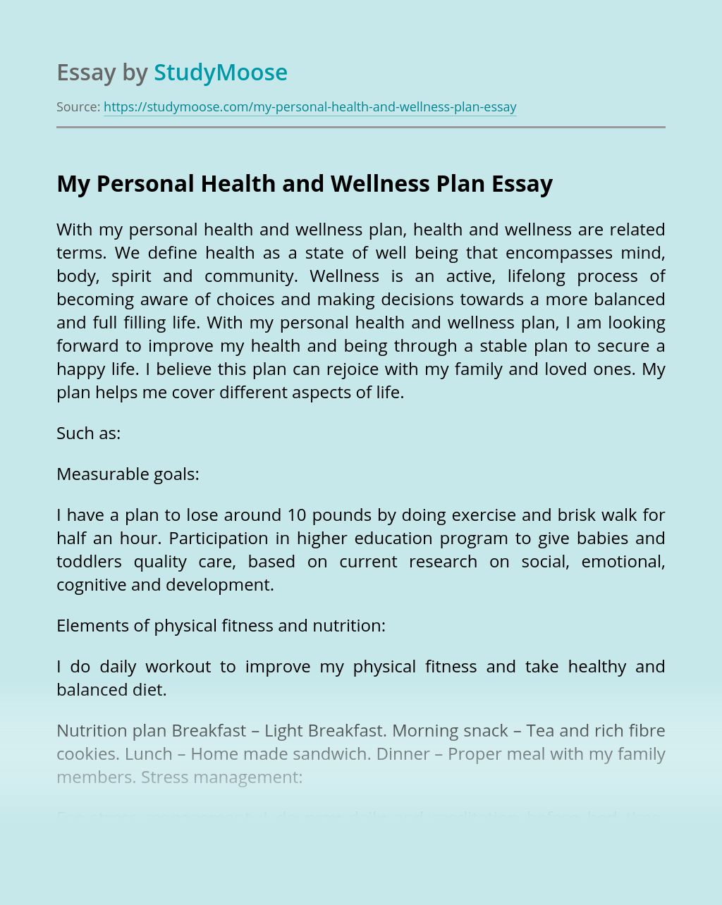 My Personal Health and Wellness Plan