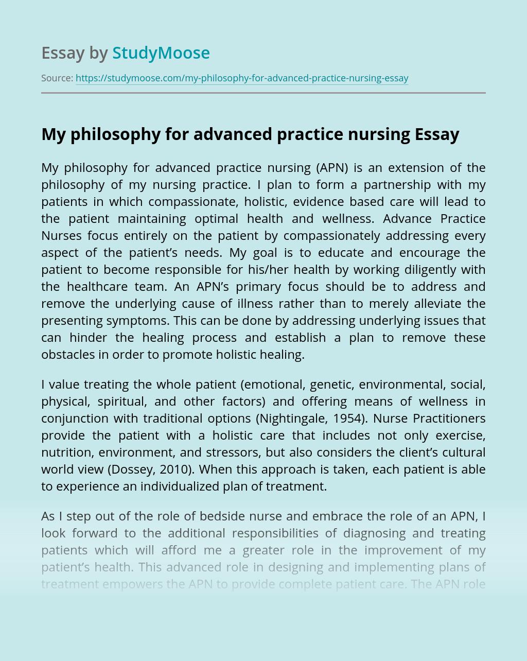 My philosophy for advanced practice nursing