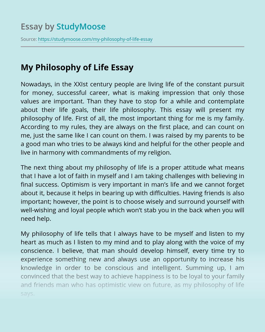 My Philosophy of Life